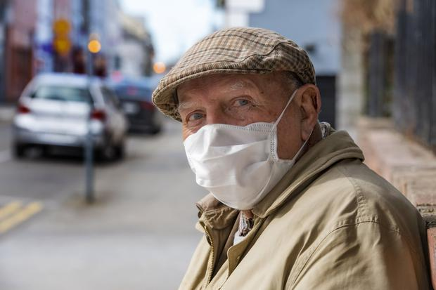 Francis O'Donnell from Derrymore in the town of Tralee with his coronavirus mask. This gentleman said he was 'taking no chances'