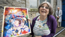 Star woman Geraldine Scanlan from Listowel gazing in delight at the heavens from the safety of her spacesuit in the vibrant work of art. Photo by Domnick Walsh