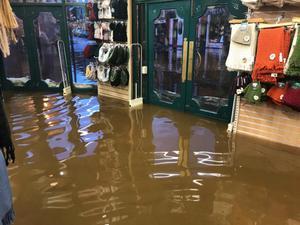 Flood waters inside Quills shop one of several businesses in the town of Kenmare affected by flooding last week. Photos by Michelle Cooper Galvin