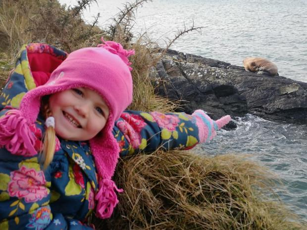 5-year old Muireann Houlihan who spotted the walrus on Valentia