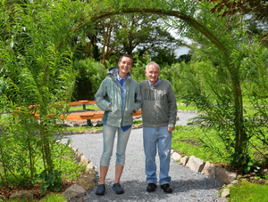 Breda Enright and Tom Healy in the newly developed sensory garden at An Díseart. Photo by Declan Malone