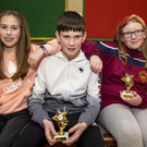 Alanna Sheehy, Jack Sheehy and Áine Batten from Duagh pictured at the Duagh/Lyre Community Games awards night