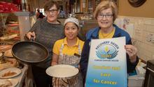Fiona Kirby and Krizia Casapao of Kirby's Brogue Inn with Maureen O'Brien of Recovery Haven at the launch of the cancer supports charity's Pancake Tuesday fundraiser at the Brogue. Photo Joe Hanley