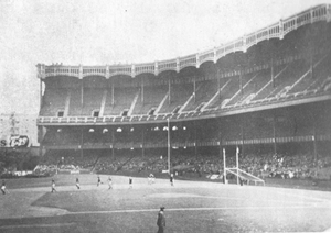 Photo taken in the Polo Grounds, New York on the day Cavan beat Kerry in the 1947 All-Ireland FInal. Photo is from John Barry's & Eamon Horan's book 'Years of Glory'.  Spot the baseball mound in the middle of the pitch.