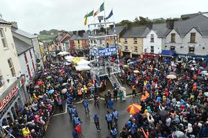 Scenes from last year's Puck Fair, when thousands gathered to mark the crowning of the Puck Goat in Killorglin. This year's Fair has been cancelled due to the COVID-19 pandemic