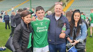 The O'Grady family Patricia,Tommy,Tom and Nicole in joyous mood at Austin Stack Park on Saturday after Ballyduff had won the County minor hurling championship.Photo Moss Joe Browne.
