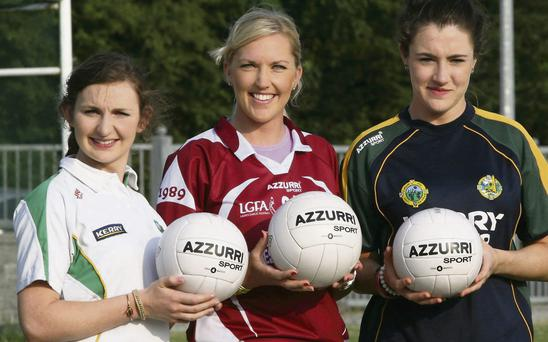 Kerry footballers from left: Cáit Lynch, Desmonds; Julie Brosnan, Scartaglin and Aoife Lyons, Desmonds pictured during the Azzurri Sports sponsorship deal recently. Photo by John Reidy