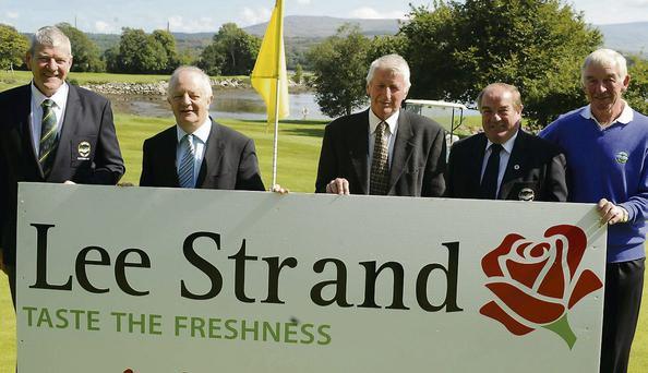 Paul Brown Club Captain, John O'Sullivan, Managing Director of Lee Strand, Tom MacDonald, Coley Keating, Tom Carey, President, launching this weekend's Three Brothers Golf Tournament at Kenmare Golf Club, Kenmare. Photo by Michelle Cooper Galvin