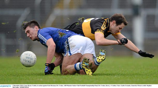 Conor Ryan, Cratloe, in action against Eoin Brosnan, Dr. Crokes in the AIB Munster Club Senior Football Championship Final at the Gaelic Ground