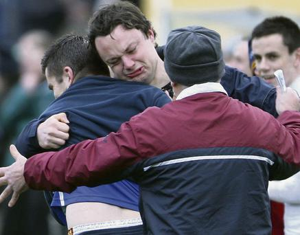 That's how much it means: Emotions fly freely from the Duagh backroom team as the final whistle sounds after their replayed 2012 North Kerry Senior Football Championship final against Beale at Frank Sheehy Memorial Park in Listowel on Sunday. Photo by John Reidy