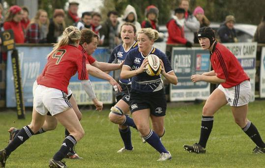 Castleisland's Sharon Lynch, seen here in action with her adopted Leinster team, has just been called onto Irish ladies rugby squad.
