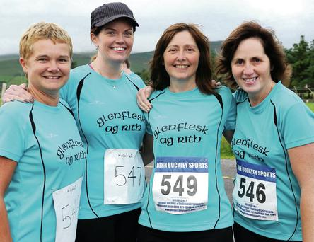 Helen Keogh, Niamh O'Connor, Debra Doyle and Mairead Cahill from Glenflesk participating in the Kilgobnet 4 Mile Race at Kilgobnet on Friday