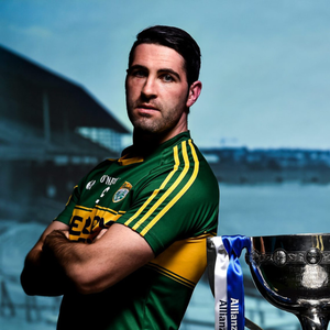 At the 2016 Allianz Football League Finals preview in Croke Park, Kerry captain Bryan Sheehan (left), and Denis Bastick, Dublin, with the Football League Division 1 trophy