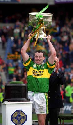 Kerry captain Seamus Moynihan lifts the Sam Maguire Cup back in 2000