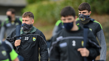 Dara Moynihan, left, and Sean O'Shea of Kerry arrive wearing a face mask prior to their Allianz Football League Division 1 Round 6 match against Monaghan at Grattan Park in Inniskeen, Monaghan