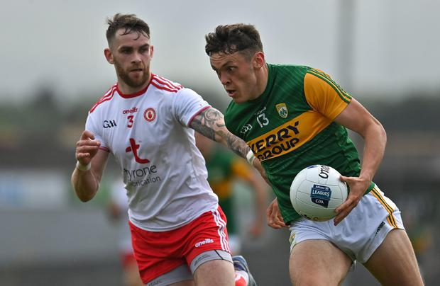 David Clifford of Kerry in action against Ronan McNamee of Tyrone during the Allianz Football League Division 1 semi-final match between Kerry and Tyrone at Fitzgerald Stadium earlier this summer Photo by Brendan Moran / Sportsfile