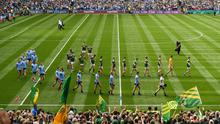Both teams during the pre-match parade before the GAA Football All-Ireland Senior Championship Final match between Dublin and Kerry at Croke Park in Dublin. Photo by Ramsey Cardy/Sportsfile