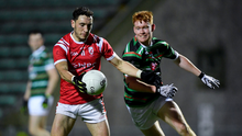 Paudie Clifford of East Kerry in action against Brandon Barrett of St Brendan's during the County SFC Semi-final match between East Kerry and St Brendan's at Austin Stack Park in Tralee. Photo by Sportsfile