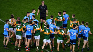 Action from last year: referee Seán Hurson and players on the pitch after the Allianz Football League Division 1 Round 1 match between Dublin and Kerry at Croke Park in Dublin in January 2020. Photo by Ray McManus / Sportsfile
