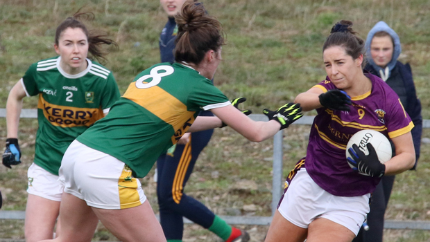 Kerry's Lorraine Scanlon tackles Aisling Murphy, Wexford, during their National League Division 2 match