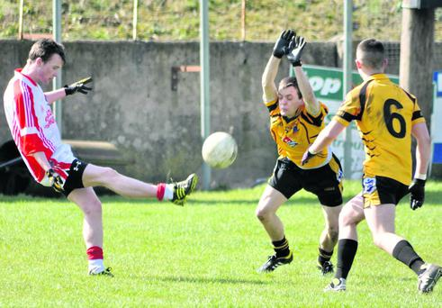 Tom O Suilleabhain, of current competition holders Pobalscoil Chorca Dhuibhne, against St Pats Navan, earlier this year