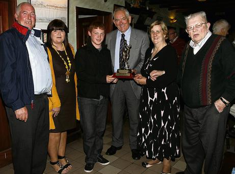 L-r Ger Greaney Chairman Knockanure, Mairead Sullivan PRO North Kerry Football, Aidan Enright Man of the Match, Mike Flavin Secretary North Kerry Football, Ann Woods Treasurer Knockanure, and Jackie McMahon President Knockanure. Photo: John Stack
