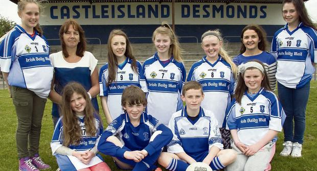 Front from left: Jessica Herbert, Dylan Browne, Adam O'Donoghue and Aisling Kearney. Back from left: Gemma Kearney, Mary Browne, secretary Coiste na nÓg; Chloe O'Connor, Aoife O'Connor, Aiva Herbert, Eilish O'Leary, chairperson, Desmonds Ladies GAA Club and Nicole Downey. Photo: John Reidy
