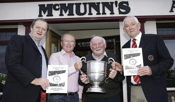 At the North Kerry Football Championship draws held in McMunn's, Ballybunion, were (left to right) Billy Enright, Chairman NKFB, Greg Ryan McMunn's Hotel Ballybunion, Sponsors, Gerry Brosnan, President NKFB, and Mike Flavin, Secretary NKFB. Photo by John Stack