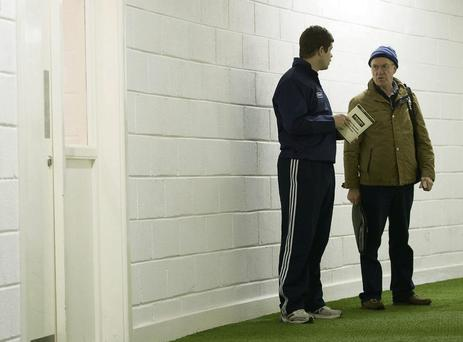 New Kerry manager Eamonn Fitzmaurice, left, in conversation with John O'Leary, new PRO of the Kerry County Board.