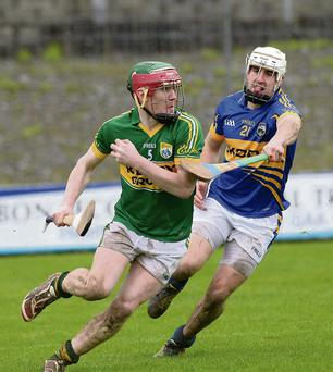 Kerry's Sean Weir in action against Tipperary's Patrick Maher during last Sunday's Waterford Crystal Cup game in Austin Stack Park, Tralee