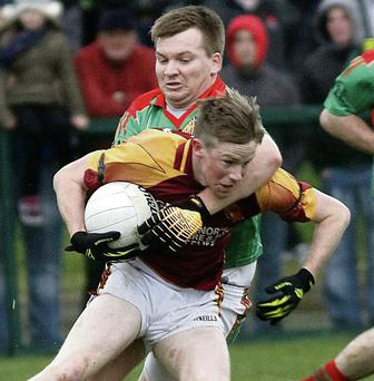 Can Duagh's Maurice O'Connor, seen in action here against Beale, drive Duagh to promotion in 2014?
