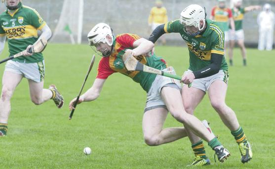 Kerry's Shane Nolan gets his tackle against Carlow's Jack Kavanagh at Austin Stack park. Photo by Eye Focus LTD
