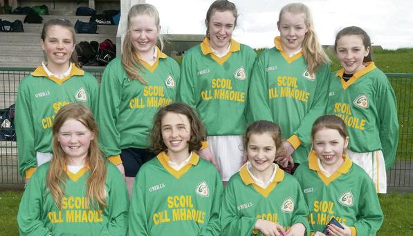 The Kilmoyley girls team that won the camogie final at the Allianz Cumann na mBunscol hurling finals