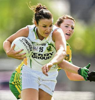 Kerry goal scorer Louise Galvin in action against Shannon McGroddy, Donegal, in the TG4 All-Ireland Ladies Sebior Football Championship Round 2 Qualifier in St Brendan's Park, Birr, Co. Offaly on Monday