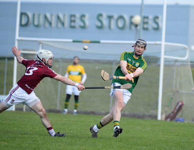 Kerry star Bryan Murphy in action against Westmeath's Alan Devine during the National Hurling League