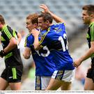 Thomas Hickey is congratulated by his Kerry team-mate Philip O'Connor after scoring his side's first goal