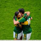 Bryan Sheehan, right, and Aidan O'Mahony, Kerry, celebrate after the game