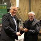 The Ryhno Quality Feeds NKHB Hall of Fame award was presented to Willie O'Connell of Lixnaw by NKHB Chairman Joe Walsh. Photo by Paddy White