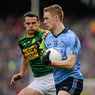 Paul Mannion, Dublin, in action against Shane Enright, Kerry. Photo: Brendan Moran/SPORTSFILE