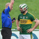 Mikey Boyle of Kerry is shown a straight red card by referee John Keenan in the last 15 seconds of the Leinster GAA Hurling Championship Round 2 Qualifier between Kerry and Westmeath. Photo: Ray McManus / SPORTSFILE