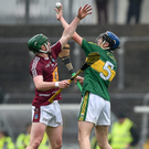 Jason Diggins of Kerry in action against Niall O'Brien of Westmeath during the Leinster GAA Hurling Championship Round 2 Qualifier. Photo by Ray McManus/Sportsfile