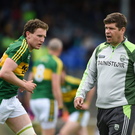 Kerry manager Eamonn Fitzmaurice (right) with championship debutant Tadhg Morley before their Munster GAA Football Senior Championship semi-final match with Clare