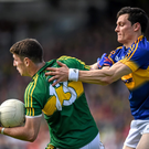 Paul Geaney, Kerry, in action against Ciaran McDonald, Tipperary
