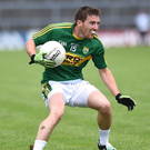 Kerry's Niall O'Shea challagned by David Ward Limerick in the Munster Junior Football Semi final in Fitzgerald Stadium, Killarney on Sunday.