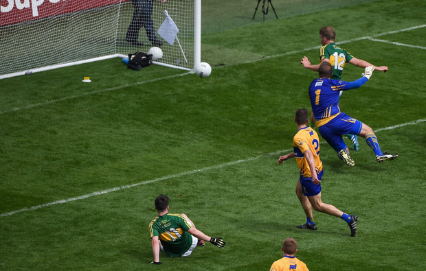 Donnchadh Walsh of Kerry scores his side's first goal during the All-Ireland Senior Championship Quarter-Final match between Clare and Kerry at Croke Park in Dublin. Photo by Daire Brennan/Sportsfile