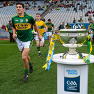 Kerry midfielder Mike Breen and goalkeeper Billy Courtney make their way onto the pitch ahead of last year's All Ireland minor final. Photo by Stephen McCarthy / Sportsfile
