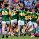 Kerry players celebrate their victory in the Electric Ireland GAA Football All-Ireland Minor Championship Final match between Kerry and Galway at Croke Park in Dublin. Photo by Ramsey Cardy / Sportsfile