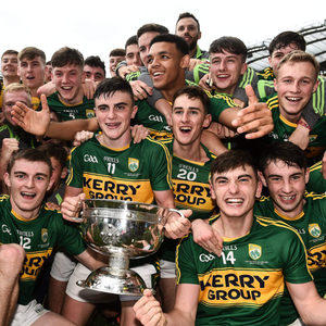 Kerry players celebrate after the Electric Ireland GAA Football All-Ireland Minor Championship Final match between Kerry and Galway at Croke Park in Dublin. Photo: David Maher/Sportsfile