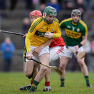 New Kerry hurling captain Aidan McCabe in action against Bill Cooper of Cork during the Co-Op Superstores Munster Senior Hurling League First Round match between Cork and Kerry at Mallow GAA Grounds. Photo by Eoin Noonan / Sportsfile