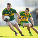 Tom O'Sullivan of Kerry in action against Eoin McHugh of Donegal during the Allianz Football League Division 1 Round 1 match between Donegal and Kerry at O'Donnell Park in Letterkenny. Photo by Stephen McCarthy / Sportsfile